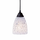 ELK 1 Light Pendant in Dark Rust and Show White Glass EK-406-1SW