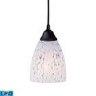 ELK 1 Light Pendant in Dark Rust and Show White Glass - Led EK-406-1SW-LED