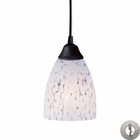 ELK 1 Light Pendant in Dark Rust and Show White Glass With Adapter Kit EK-406-1SW-LA