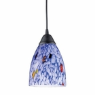 ELK 1 Light Pendant in Dark Rust and Starlight Blue Glass EK-406-1BL
