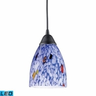 ELK 1 Light Pendant in Dark Rust and Starlight Blue Glass - Led EK-406-1BL-LED