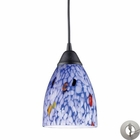 ELK 1 Light Pendant in Dark Rust and Starlight Blue Glass With Adapter Kit EK-406-1BL-LA