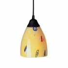 ELK 1 Light Pendant in Dark Rust and Yellow Blaze Glass EK-406-1YW