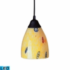 ELK 1 Light Pendant in Dark Rust and Yellow Blaze Glass - Led EK-406-1YW-LED