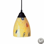 ELK 1 Light Pendant in Dark Rust and Yellow Blaze Glass With Adapter Kit EK-406-1YW-LA