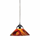 ELK 1 Light Pendant in Polished Chrome and Jasper Glass EK-1477-1JAS