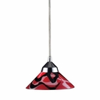ELK 1 Light Pendant in Polished Chrome and Mars Glass EK-1477-1MAR