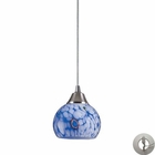 ELK 1 Light Pendant in Satin Nickel and Starlight Blue Glass With Adapter Kit EK-101-1BL-LA