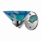 ELK 1 Light Sconce in Polished Chrome and Carribean Glass EK-1470-1CAR