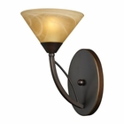 ELK 1 Light Wall Bracket in Aged Bronze and Tea Swirl Glass EK-7640-1