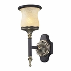 ELK 1 Light Wall Bracket in Antique Bronze & Dark Umber and Marblized Amber Glass EK-2420-1