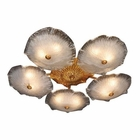 ELK 10 Light Semi Flush in A Silver Leaf Finish With Murano Glass EK-1724-10