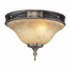 ELK 2 Light Flush in Antique Bronze & Dark Umber and Marblized Amber Glass EK-2424-2