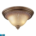 ELK 2 Light Flush Mount in Mocha and Antique Amber Glass - Led EK-9319-2-LED