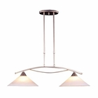 ELK 2 Light Island Light in Satin Nickel and Tea Swirl Glass EK-6501-2