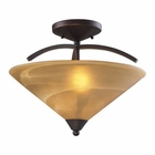 ELK 2 Light Semi Flush in Aged Bronze and Tea Swirl Glass EK-7643-2