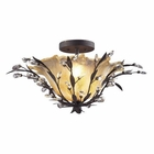 ELK 2 Light Semi Flush in Deep Rust and Crystal Droplets EK-8059-2