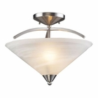 ELK 2 Light Semi Flush in Satin Nickel and Marblized White Glass EK-7633-2