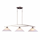 ELK 3 Light Island Light in Satin Nickel and Tea Swirl Glass EK-6502-3
