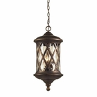 ELK 3 Light Outdoor Pendant in Hazlenut Bronze and Designer Water Glass EK-42033-3