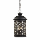 ELK 3 Light Outdoor Pendant  in Weathered Charcoal and Clear Seeded Glass EK-42063-3