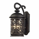 ELK 3 Light Outdoor Sconce in Weathered Charcoal and Clear Seeded Glass EK-42062-3