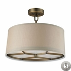 ELK 3- Light Pendant in Brushed Antique Brass With Adapter Kit EK-31262-3-LA