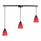 ELK 3 Light Pendant in Dark Rust and Fire Red Glass EK-406-3L-FR