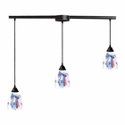 ELK 3 Light Pendant in Dark Rust and Mountain Glass EK-406-3L-MT