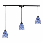ELK 3 Light Pendant in Dark Rust and Starlight Blue Glass EK-406-3L-BL