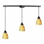 ELK 3 Light Pendant in Dark Rust and Yellow Blaze Glass EK-406-3L-YW