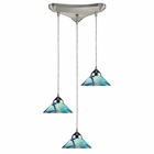ELK 3 Light Pendant in Polished Chrome and Carribean Glass EK-1477-3CAR