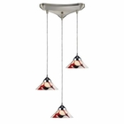 ELK 3 Light Pendant in Polished Chrome and Creme White Glass EK-1477-3CRW