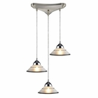 ELK 3 Light Pendant in Polished Chrome and Etched Clear Glass EK-1477-3