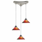 ELK 3 Light Pendant in Polished Chrome and Jasper Glass EK-1477-3JAS