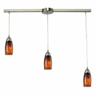 ELK 3 Light Pendant in Satin Nickel and Espresso Glass EK-110-3L-ES