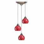 ELK 3 Light Pendant in Satin Nickel and Fire Red Glass EK-101-3FR