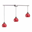 ELK 3 Light Pendant in Satin Nickel and Fire Red Glass EK-101-3L-FR