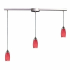 ELK 3 Light Pendant in Satin Nickel and Fire Red Glass EK-110-3L-FR
