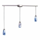 ELK 3 Light Pendant in Satin Nickel and Mountain Glass EK-110-3L-MT