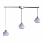 ELK 3 Light Pendant in Satin Nickel and Snow White Glass EK-101-3L-SW