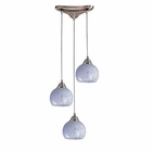 ELK 3 Light Pendant in Satin Nickel and Snow White Glass EK-101-3SW