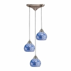 ELK 3 Light Pendant in Satin Nickel and Starlight Blue Glass EK-101-3BL