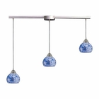 ELK 3 Light Pendant in Satin Nickel and Starlight Blue Glass EK-101-3L-BL