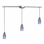 ELK 3 Light Pendant in Satin Nickel and Starlight Blue Glass EK-110-3L-BL