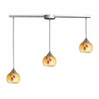 ELK 3 Light Pendant in Satin Nickel and Yellow Blaze Glass EK-101-3L-YW