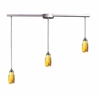 ELK 3 Light Pendant in Satin Nickel and Yellow Blaze Glass EK-110-3L-YW
