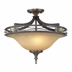 ELK 3 Light Semi Flush in Antique Bronze & Dark Umber and Marblized Amber Glass EK-2425-3