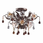 ELK 3 Light Semi Flush in Deep Rust and Hand Blown Florets EK-7044-3