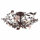 ELK 3 Light Semi Flush in Deep Rust and Hand Blown Florets EK-7046-3